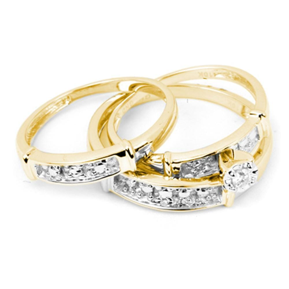 10kt Yellow Gold His & Hers Round Diamond Solitaire Matching Bridal Wedding Ring Band Set 1/10 Cttw