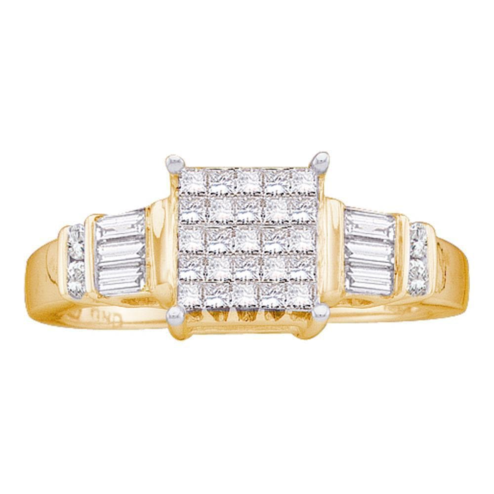 14kt Yellow Gold Womens Princess Diamond Cluster Bridal Wedding Engagement Ring 1/2 Cttw
