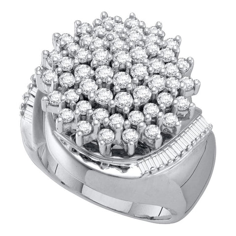 10kt White Gold Womens Round Diamond Cluster Ring 2.00 Cttw