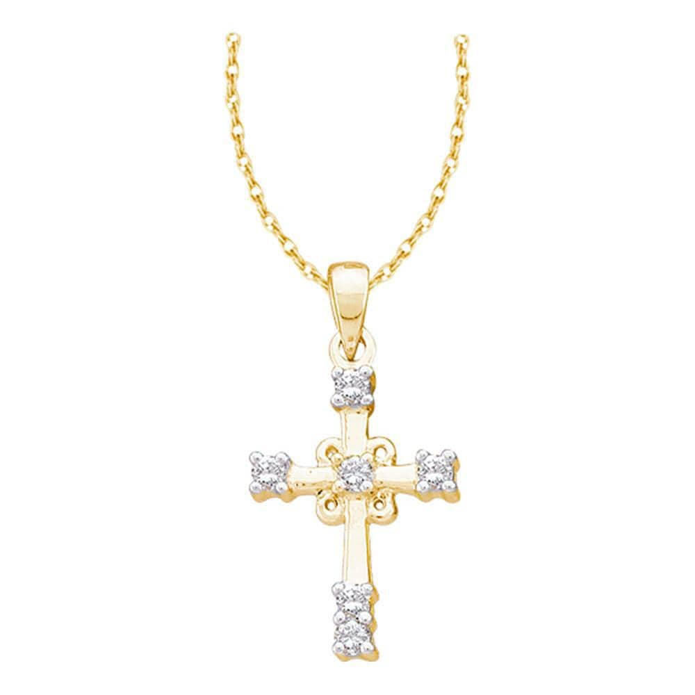 10kt Yellow Gold Womens Round Diamond Roman Cross Religious Pendant 1/10 Cttw