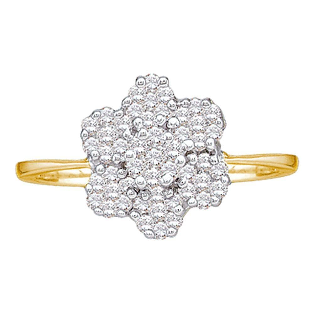 10kt Yellow Gold Womens Round Diamond Flower Cluster Ring 1/4 Cttw