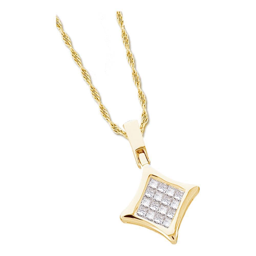 14kt Yellow Gold Womens Princess Diamond Diagonal Square Cluster Pendant 1/4 Cttw