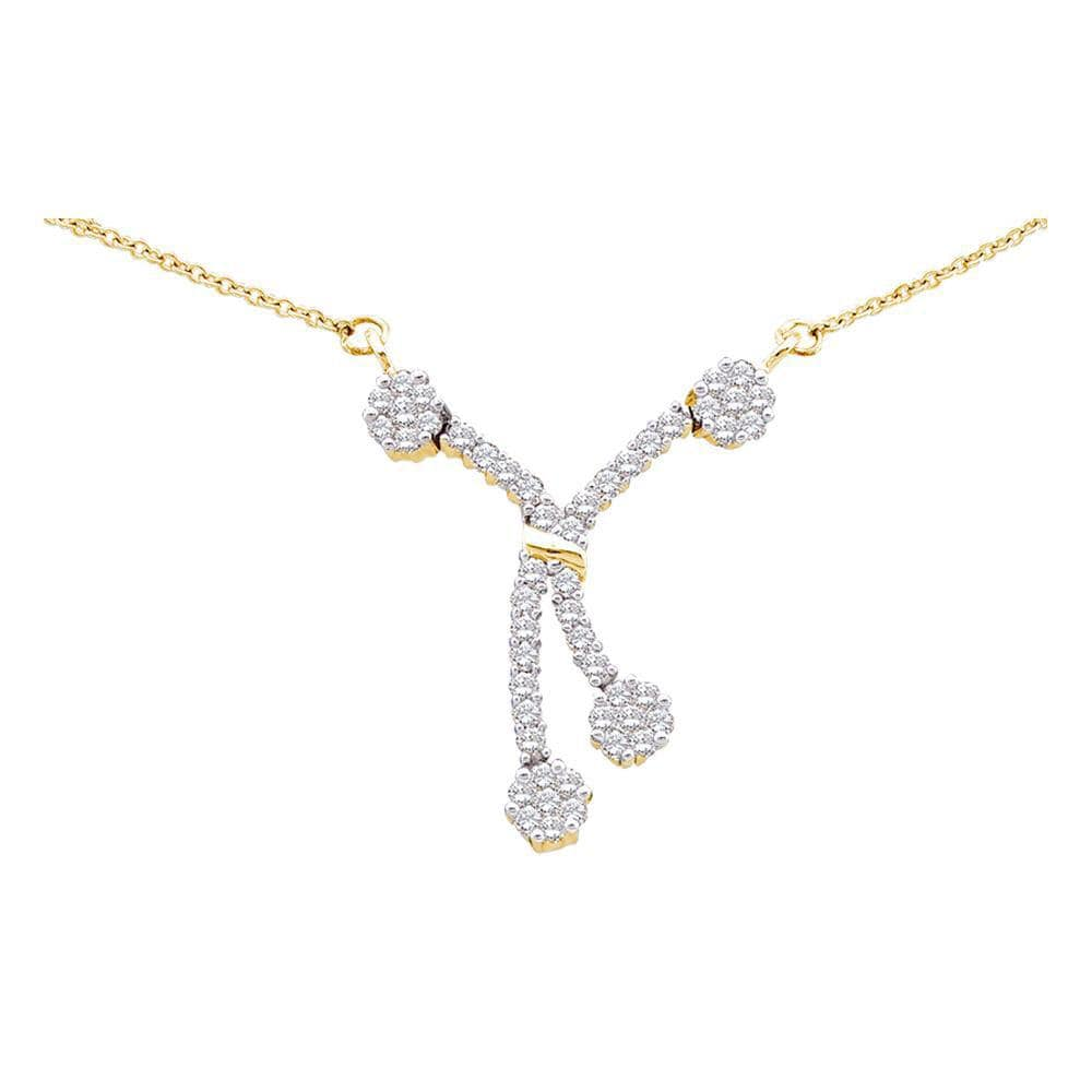 14kt Yellow Gold Womens Round Diamond Dangle Flower Cluster Fashion Necklace 1/2 Cttw