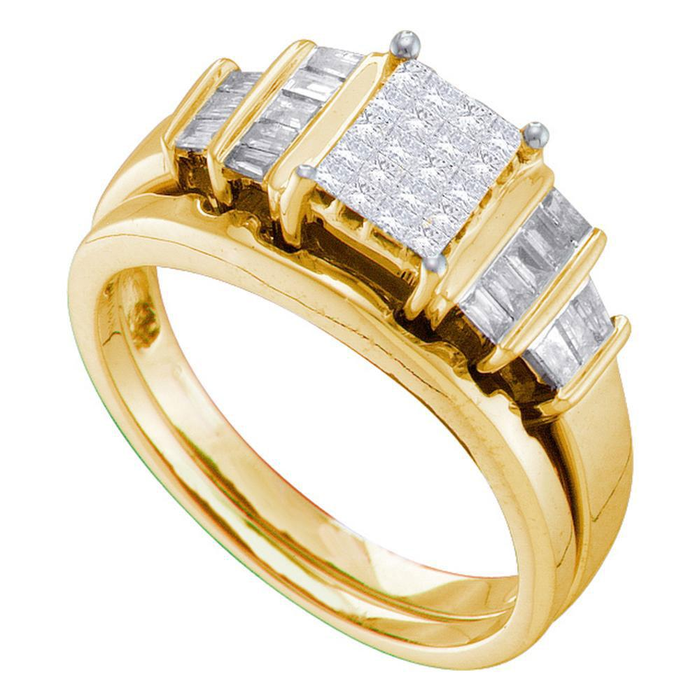 14kt Yellow Gold Womens Princess Diamond Cluster Bridal Wedding Engagement Ring Band Set 1/2 Cttw