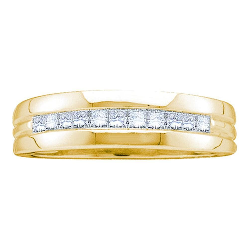 14kt Yellow Gold Mens Princess Diamond Wedding Anniversary Band Ring 1.00 Cttw