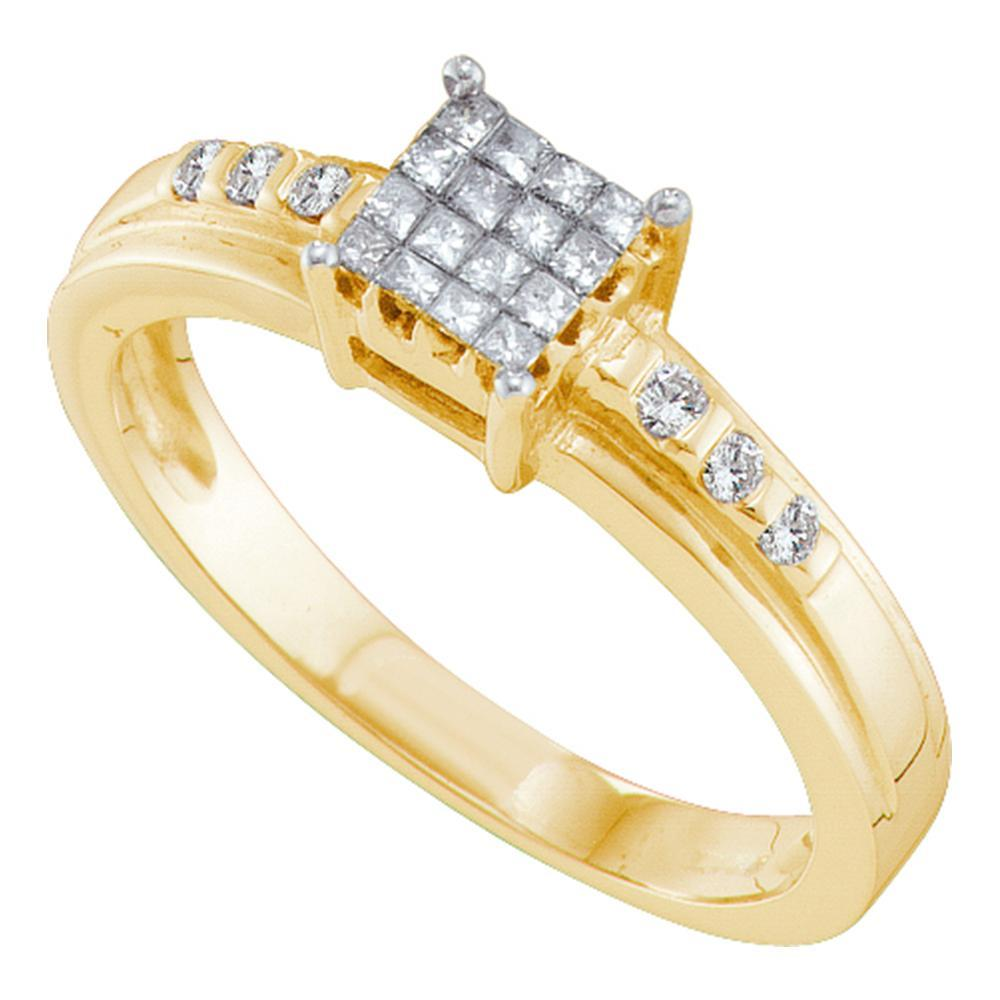 14kt Yellow Gold Womens Princess Diamond Square Cluster Ring 1/4 Cttw
