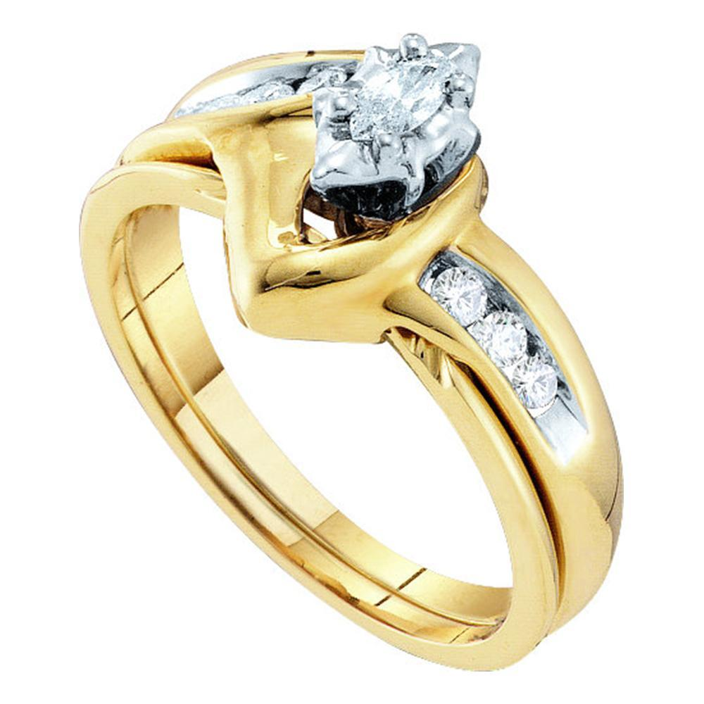 10kt Yellow Gold Womens Marquise Diamond Bridal Wedding Engagement Ring Band Set 1/4 Cttw