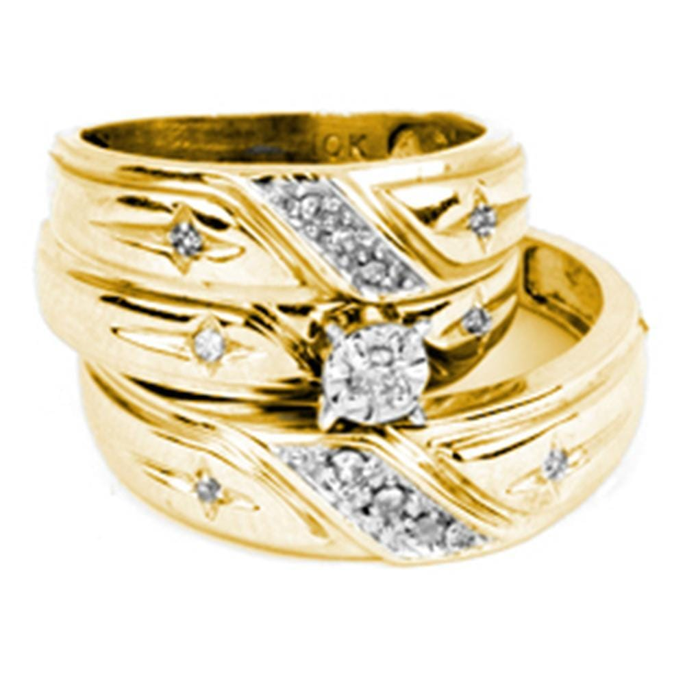 10kt Yellow Gold His & Hers Round Diamond Solitaire Cross Matching Bridal Wedding Ring Band Set 1/5 Cttw