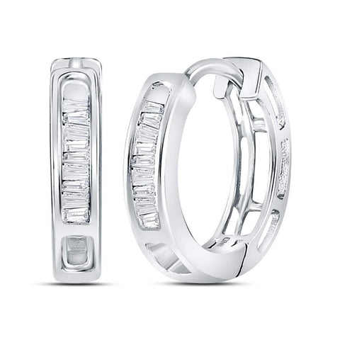 14kt White Gold Womens Baguette Diamond Huggie Hoop Earrings 1/6 Cttw