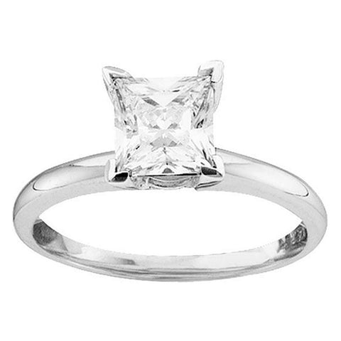 14kt White Gold Womens Princess Diamond Solitaire Bridal Wedding Engagement Ring 3/4 Cttw