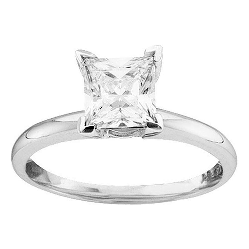 14kt White Gold Womens Princess Diamond Solitaire Bridal Wedding Engagement Ring 7/8 Cttw