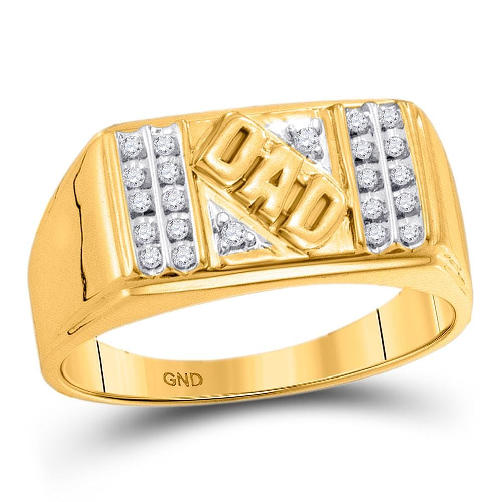 10kt Yellow Gold Mens Round Diamond Dad Father Ring 1/ Cttw