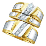 10kt Yellow Gold His & Hers Marquise Diamond Solitaire Matching Bridal Wedding Ring Band Set 1/4 Cttw