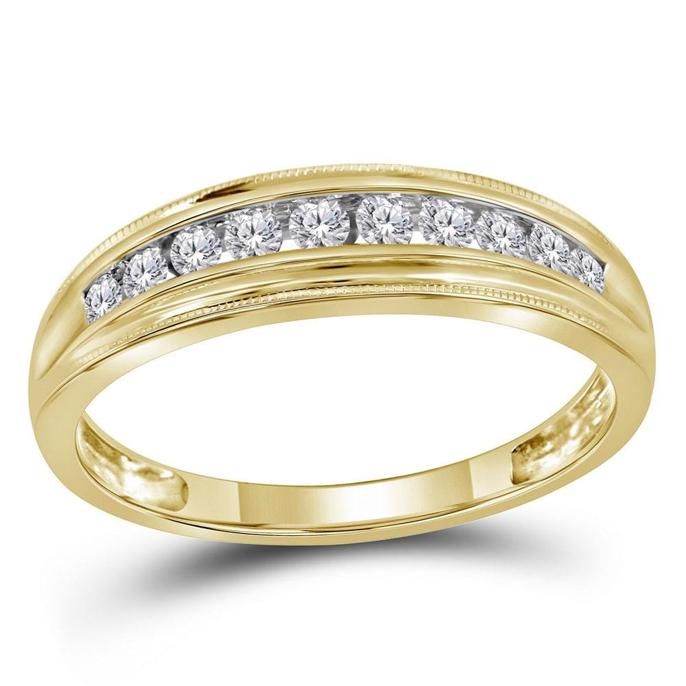 10kt Yellow Gold Womens Round Diamond Single Row Band Ring 1/4 Cttw