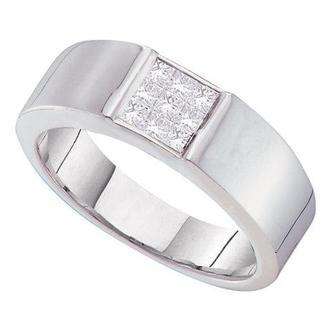 14kt White Gold Mens Princess Diamond Cluster Wedding Anniversary Band Ring 1/2 Cttw
