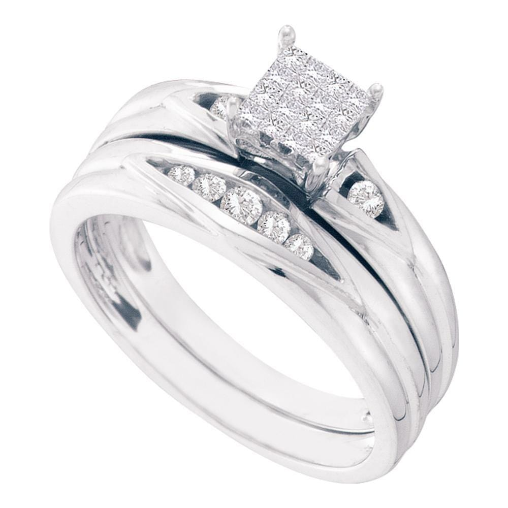 14kt White Gold Womens Princess Diamond Bridal Wedding Engagement Ring Band Set 1/4 Cttw