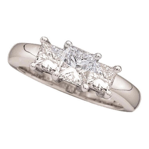 14kt White Gold Womens Princess Diamond 3-stone Bridal Wedding Engagement Ring 3/4 Cttw