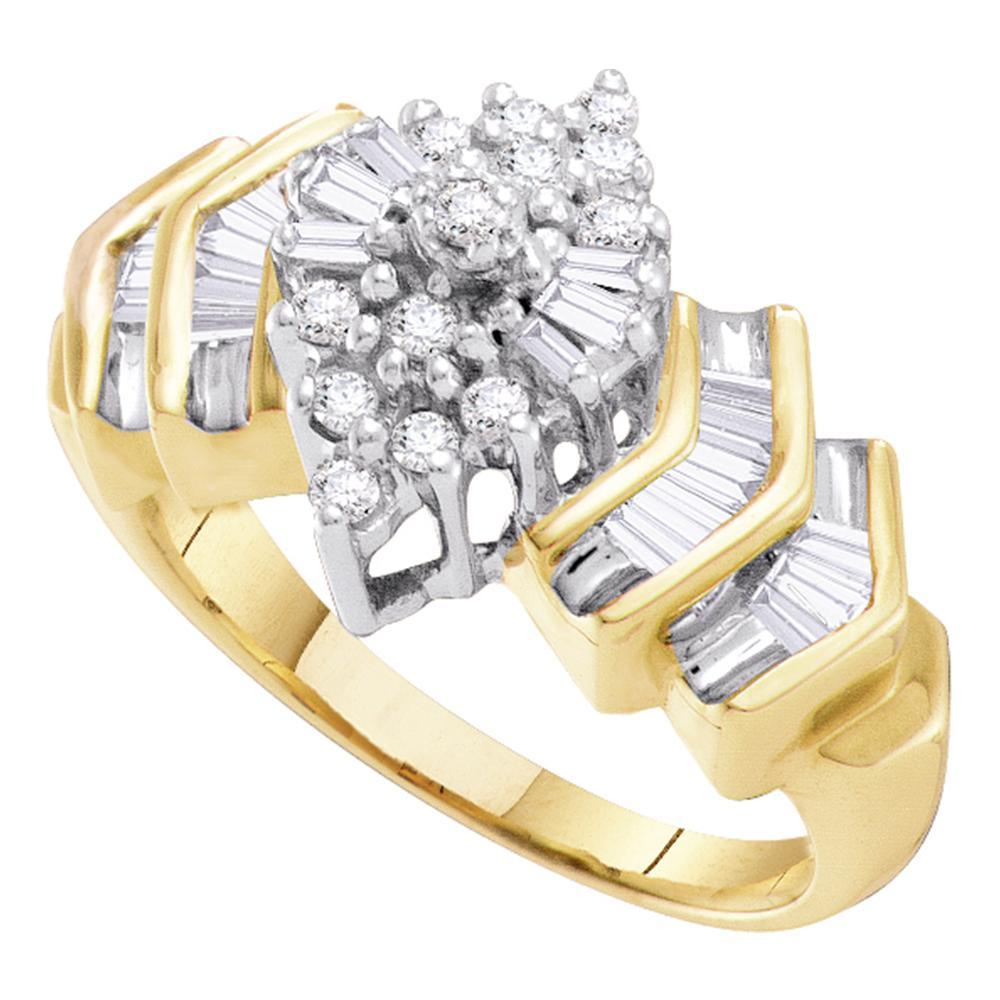 10kt Yellow Gold Womens Round Diamond Cluster Baguette Accent Ring 1/2 Cttw