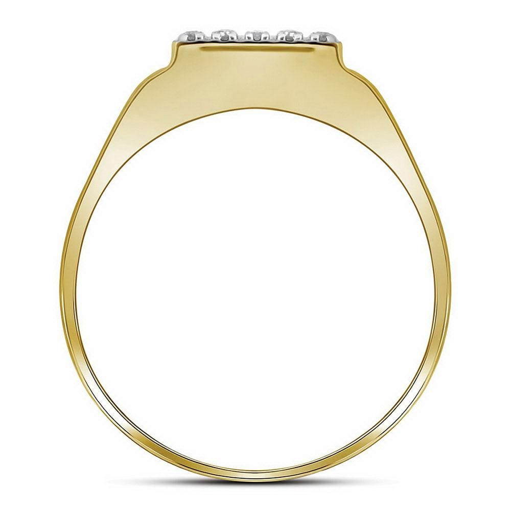 10kt Two-tone Gold Mens Round Diamond Square Ring 1/ Cttw