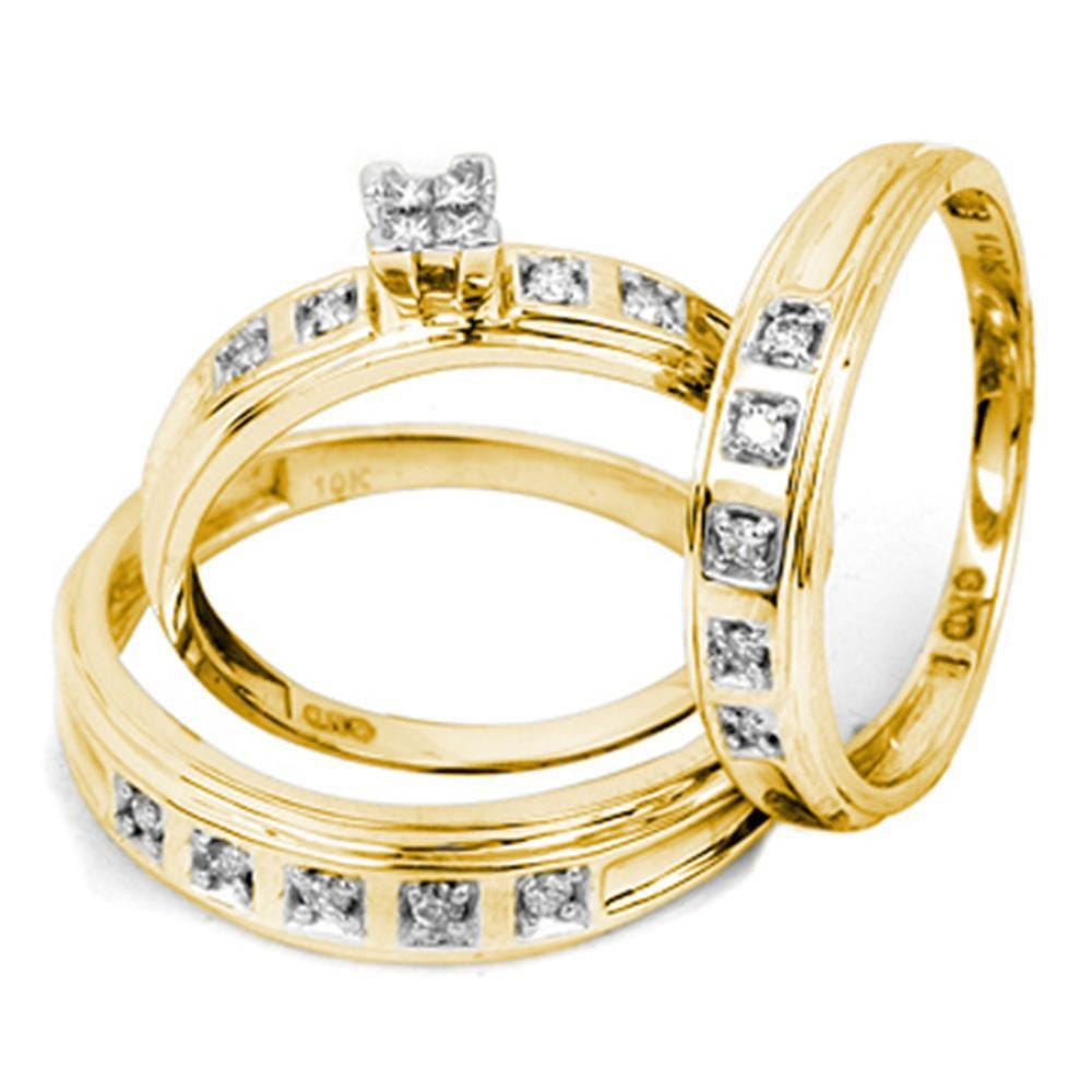 10kt Yellow Gold His Hers Round Diamond Cluster Matching Wedding Set 1/4 Cttw