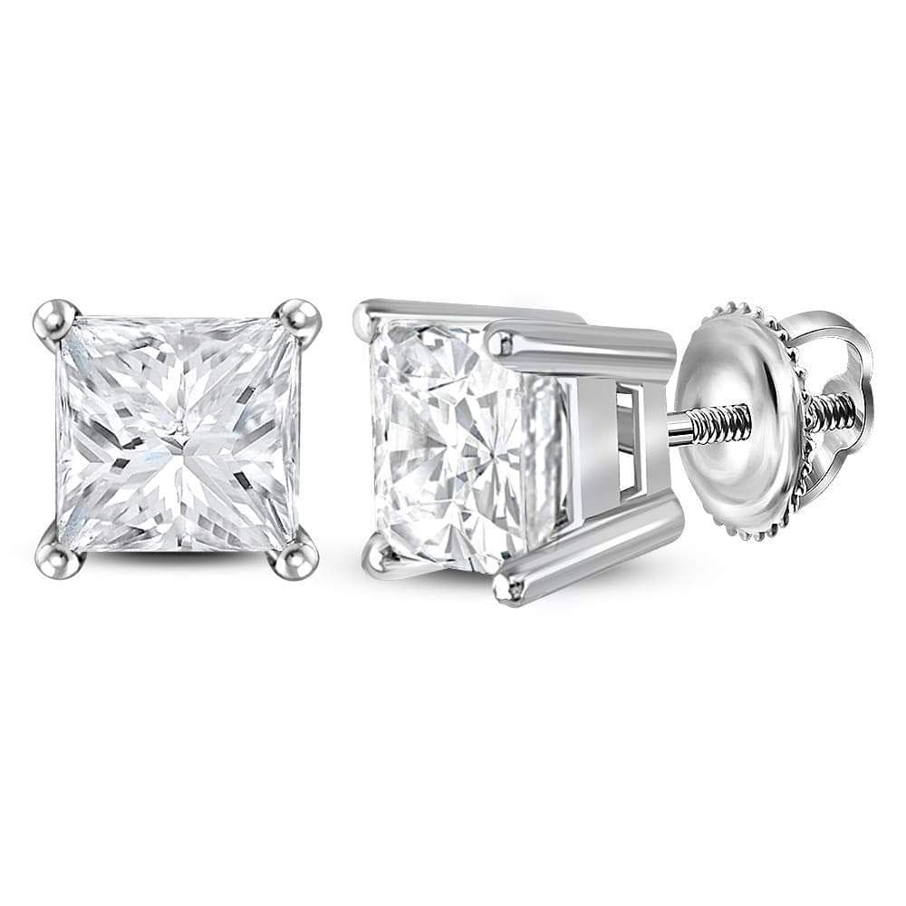 14kt White Gold Unisex Princess Diamond Solitaire Stud Earrings 1-3/8 Cttw