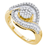 14kt Yellow Gold Womens Round Diamond Flower Cluster Baguette Concentric Ring 1.00 Cttw