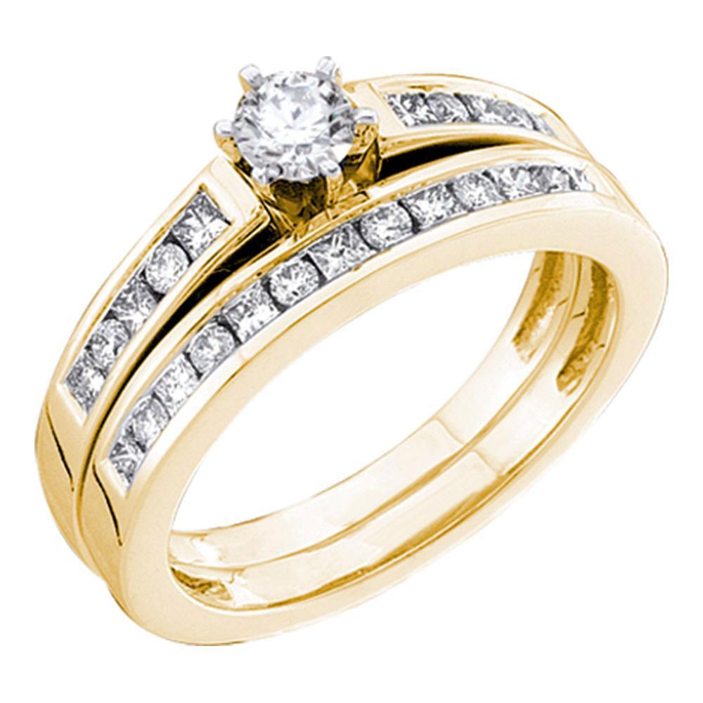 14kt Yellow Gold Round Diamond Bridal Wedding Ring Band Set 3/4 Cttw