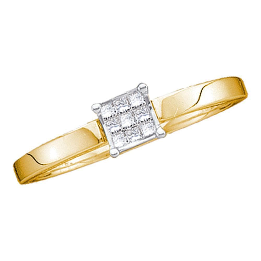 14kt Yellow Gold Womens Princess Diamond Cluster Bridal Wedding Engagement Ring 1/10 Cttw