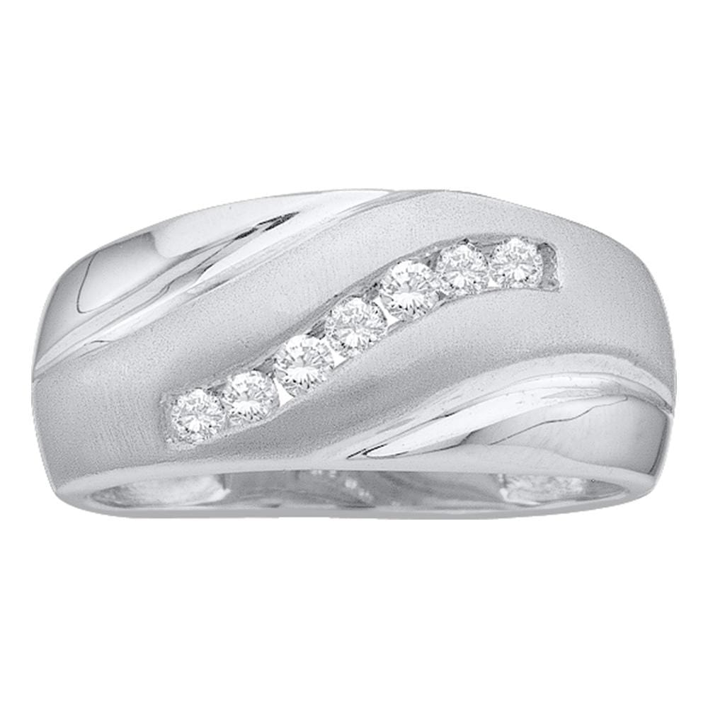 14kt White Gold Mens Round Diamond Diagonal Single Row Wedding Band Ring 1/4 Cttw