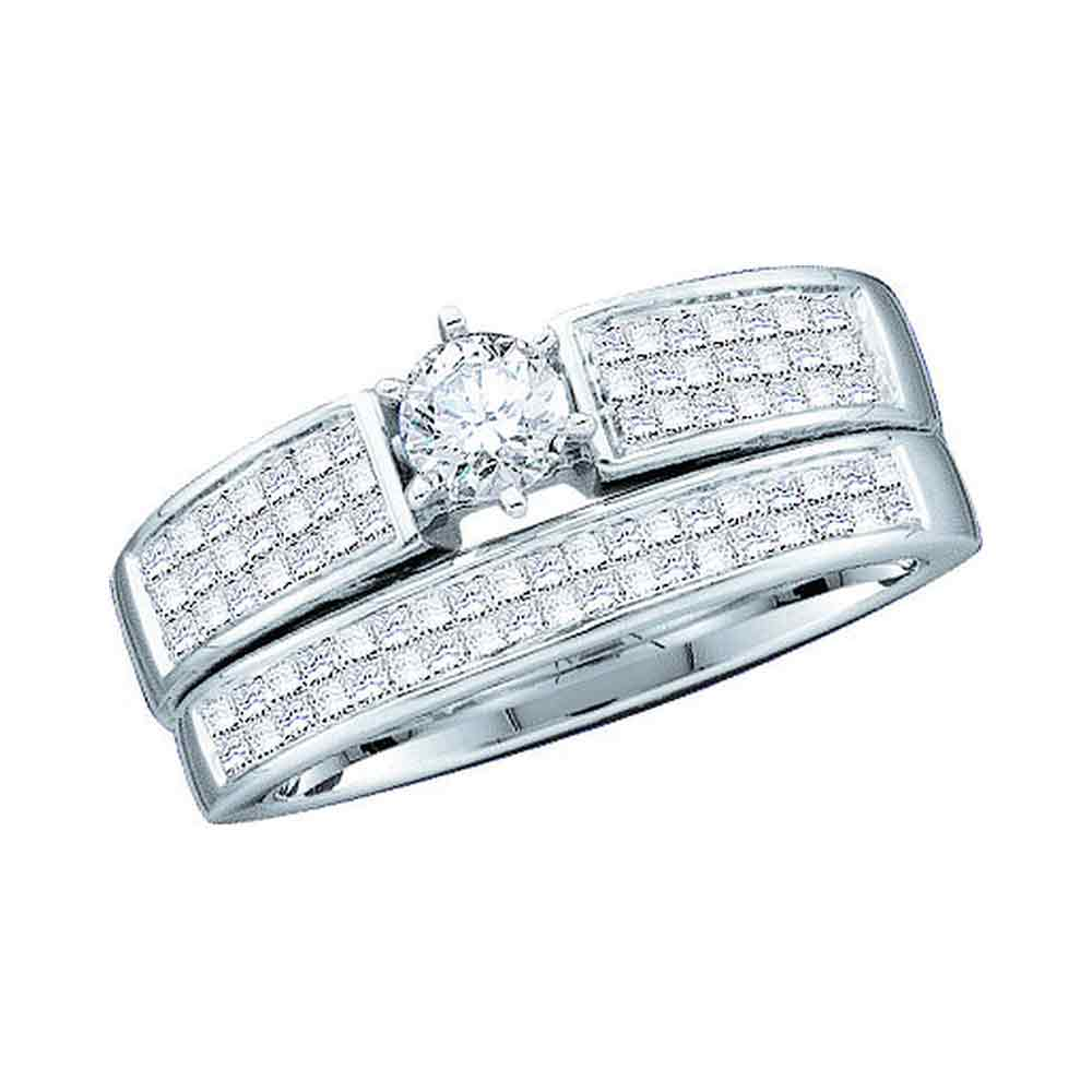 14kt White Gold Womens Diamond Round Bridal Wedding Engagement Ring Band Set 1.00 Cttw