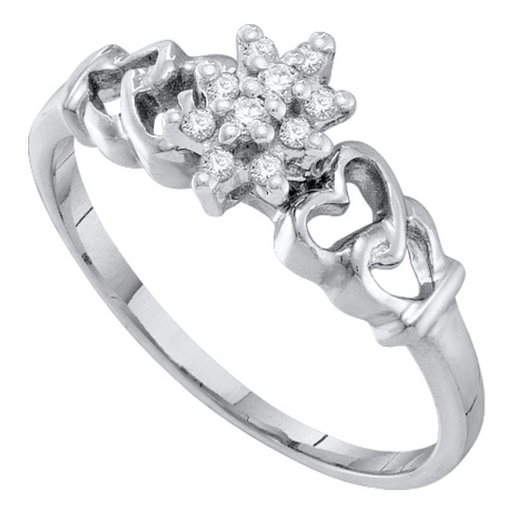 10kt White Gold Womens Round Prong-set Diamond Small Cluster Ring 1/8 Cttw
