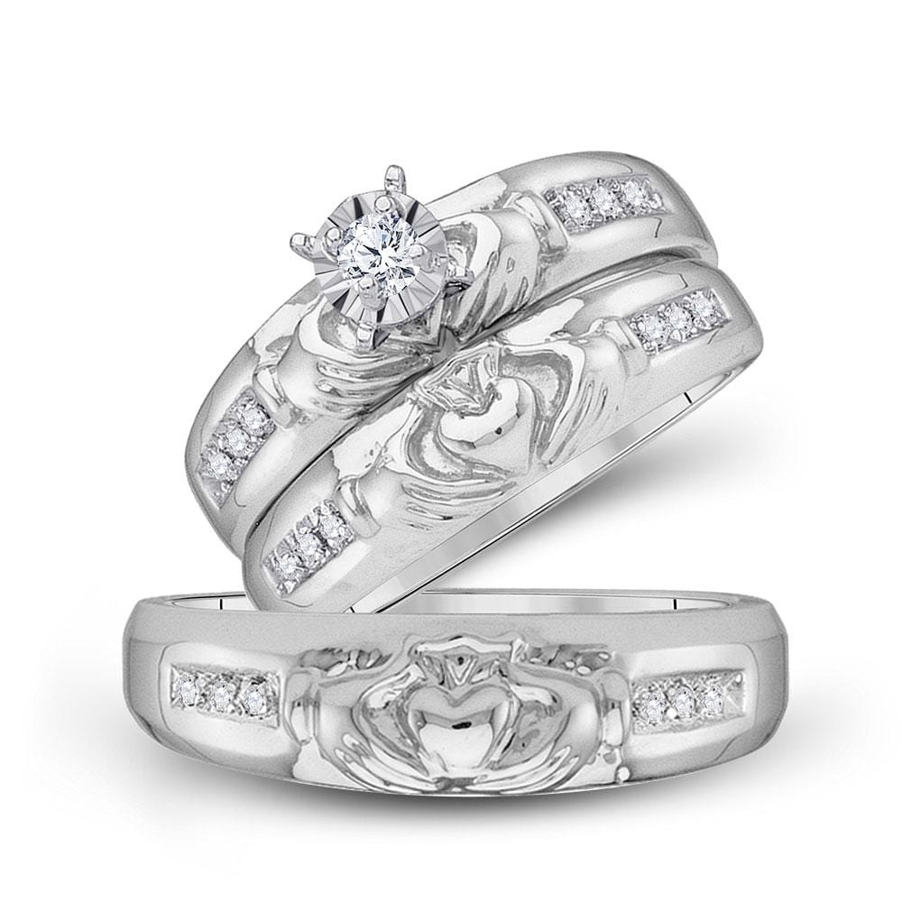 10kt White Gold His Hers Round Diamond Claddagh Matching Wedding Set 1/8 Cttw