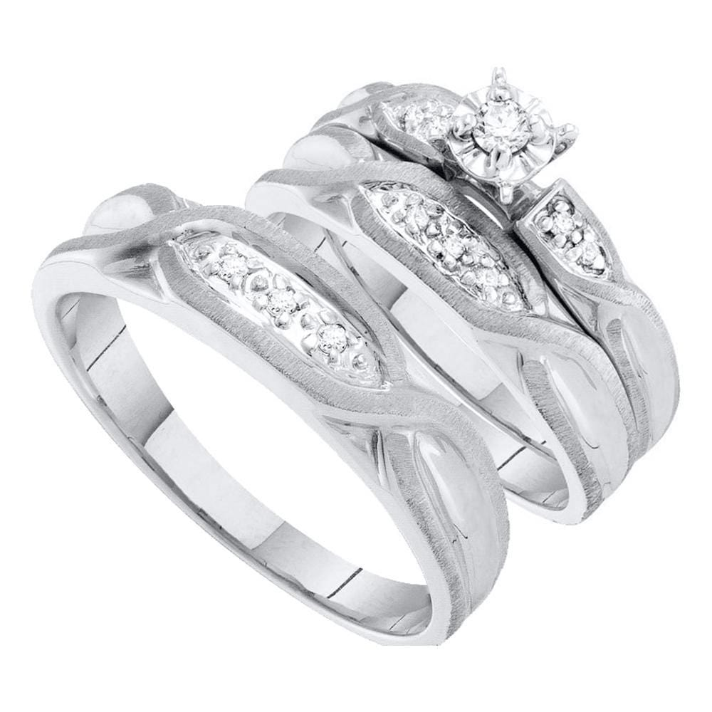 14kt White Gold His Hers Round Diamond Solitaire Matching Wedding Set 1/8 Cttw