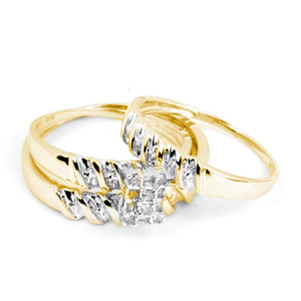 14kt Yellow Gold His & Hers Round Diamond Cluster Matching Bridal Wedding Ring Band Set 1/10 Cttw