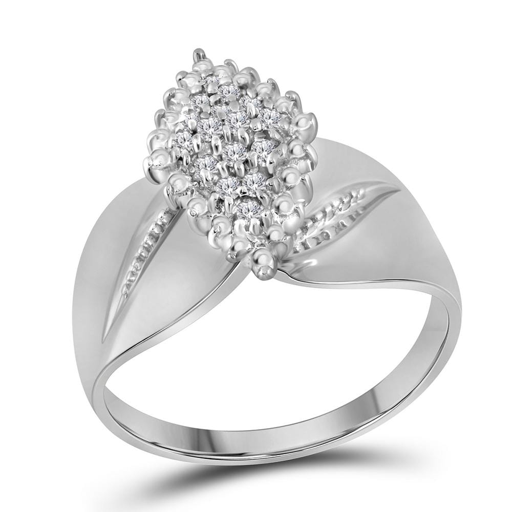 14kt White Gold Womens Round Diamond Oval Marquise-shape Cluster Ring 1/8 Cttw