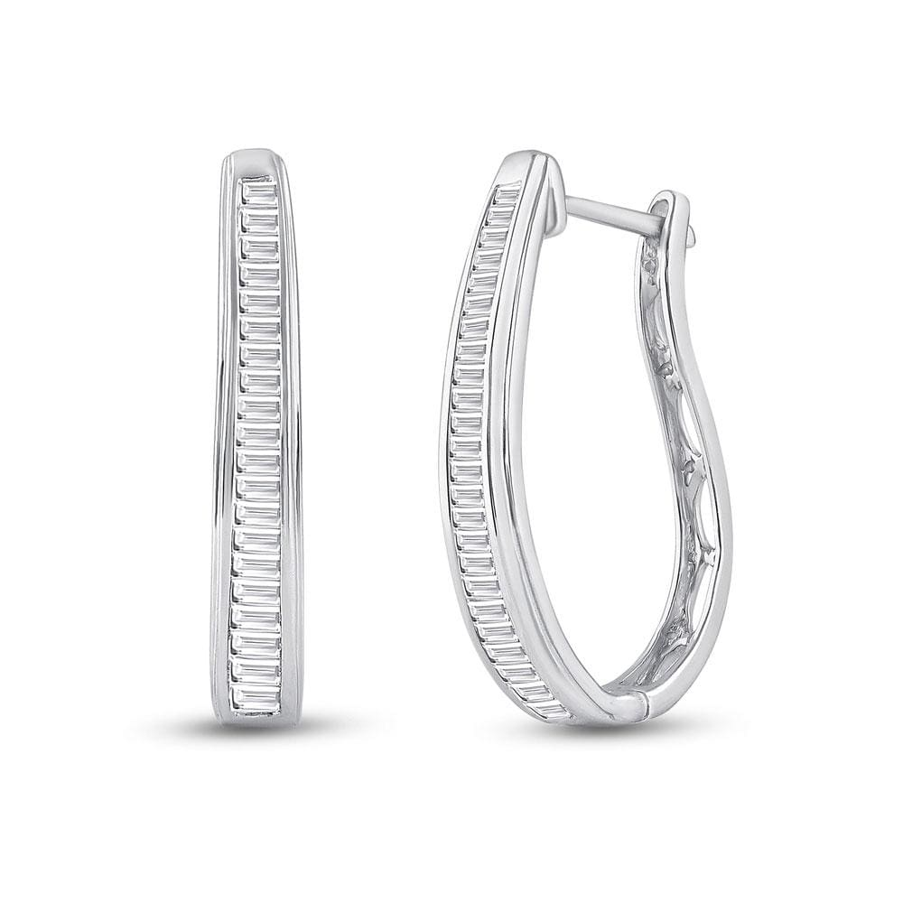 14kt White Gold Womens Baguette Diamond Hoop Earrings 1.00 Cttw