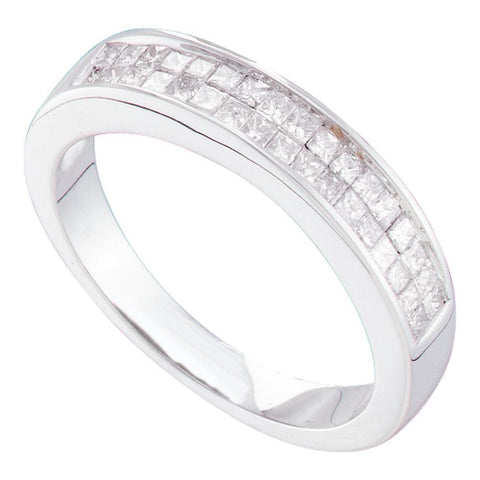 14kt White Gold Womens Princess Diamond Wedding Anniversary Band Ring 1/2 Cttw