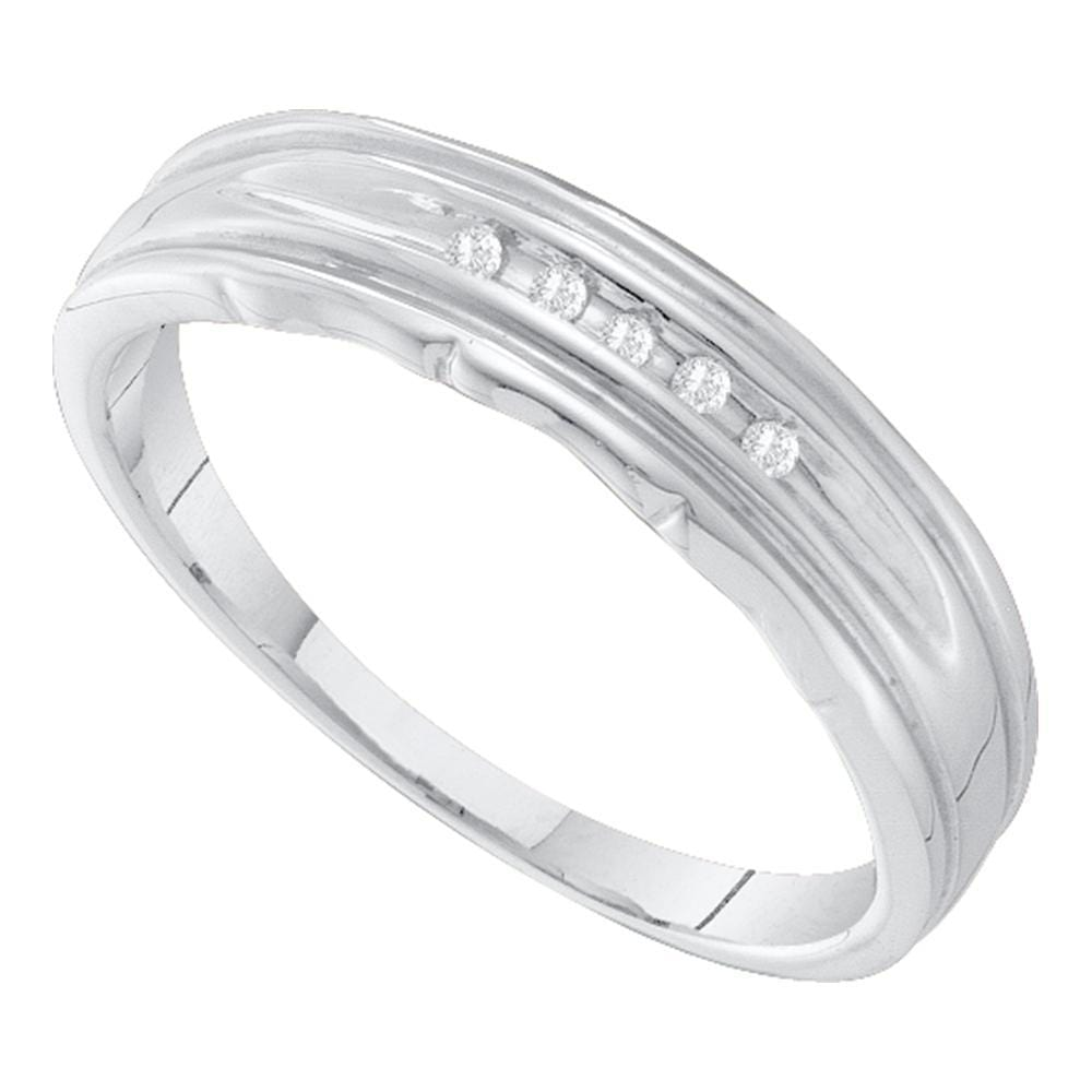 10kt White Gold Mens Round Channel-set Diamond Single Row Wedding Band 1/20 Cttw