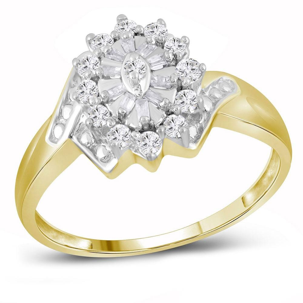10kt Yellow Gold Womens Round Diamond Cluster Ring 1/4 Cttw
