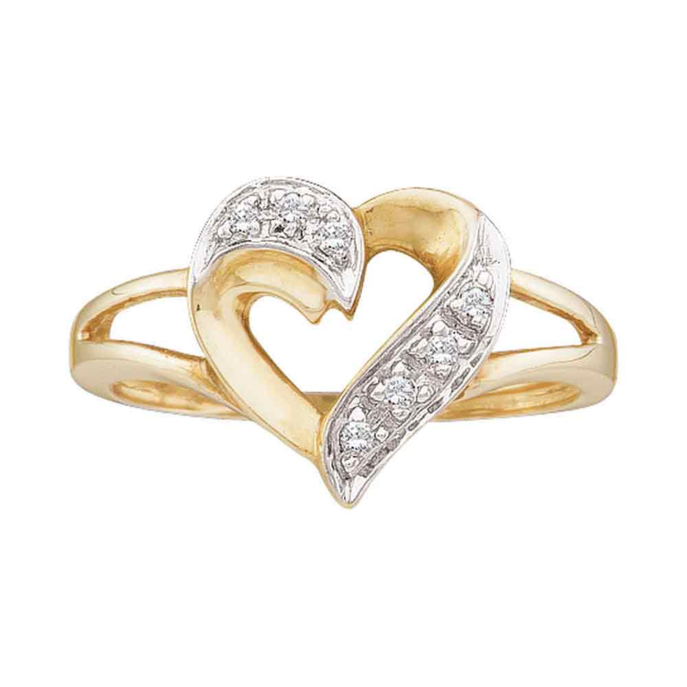 10kt Yellow Gold Womens Round Diamond Split-shank Heart Ring 1/20 Cttw