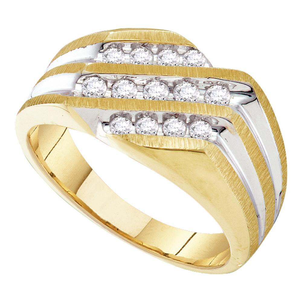 10kt Two-tone Gold Mens Round Diamond Diagonal 3 Row Fashion Ring 1/2 Cttw