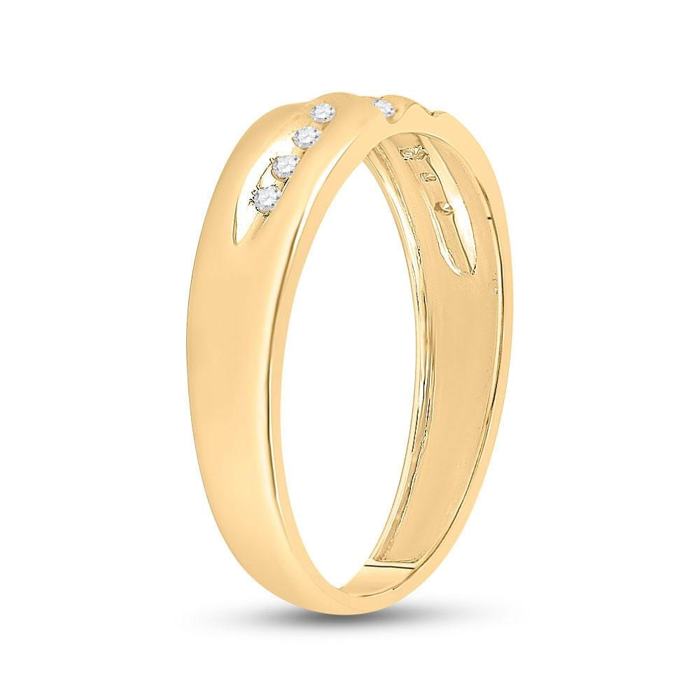 10kt Yellow Gold Mens Round Diamond Wedding Band Ring 1/8 Cttw