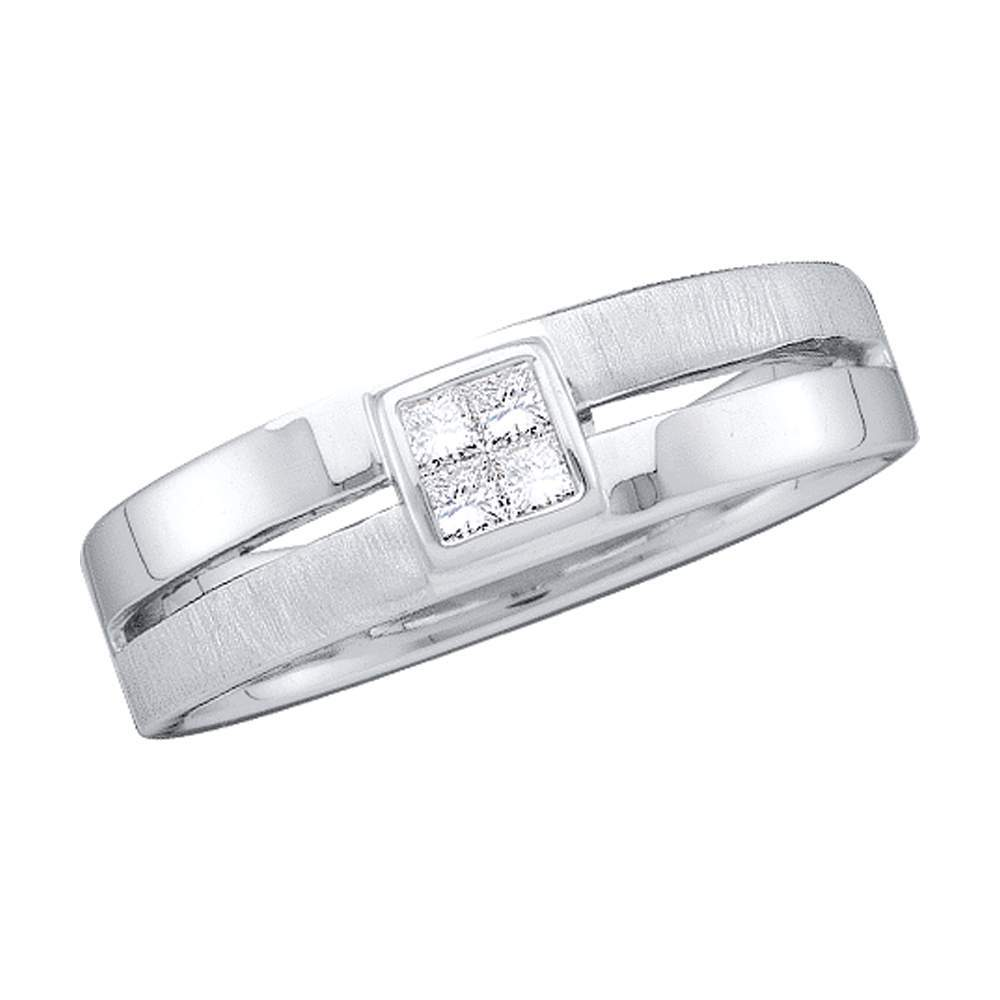 14kt White Gold Mens Princess Diamond 5mm Wedding Anniversary Band Ring 1/6 Cttw