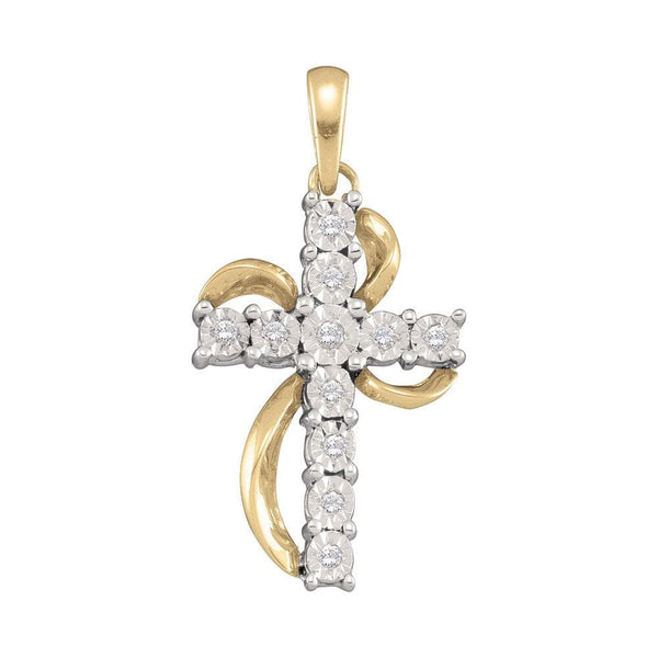 10kt Yellow Gold Womens Round Diamond Cross Faith Pendant 1/8 Cttw