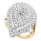 10kt Yellow Gold Womens Round Baguette Diamond Teardrop Cluster Ring 1.00 Cttw