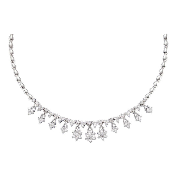 14kt White Gold Womens Round Diamond High-end Cluster Necklace 2.00 Cttw