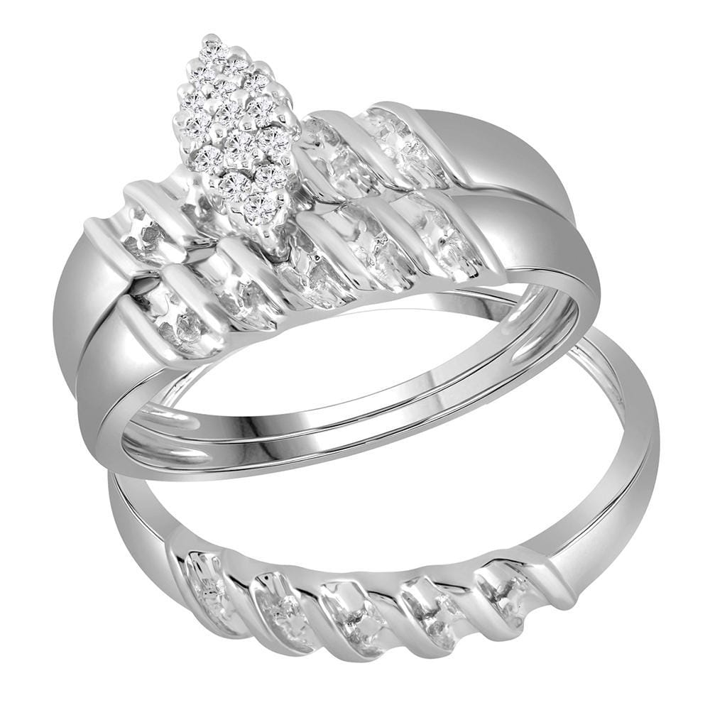 14kt White Gold His & Hers Round Diamond Cluster Matching Bridal Wedding Ring Band Set 1/10 Cttw