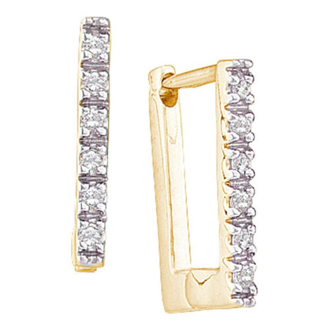 14kt Yellow Gold Toddler Child Safe Round Diamond Rectangle Huggie Hoop Baby Earrings