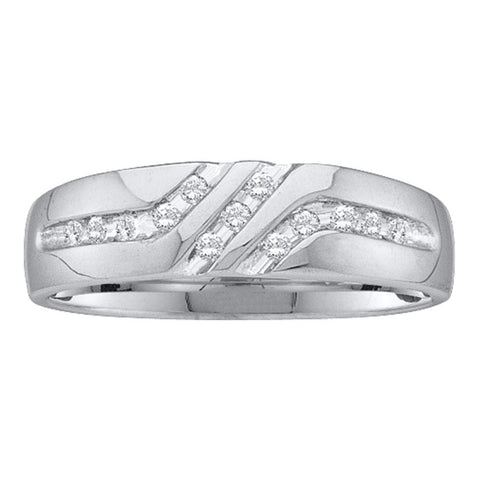 14kt White Gold Mens Round Diamond 5mm Wedding Anniversary Band Ring 1/8 Cttw