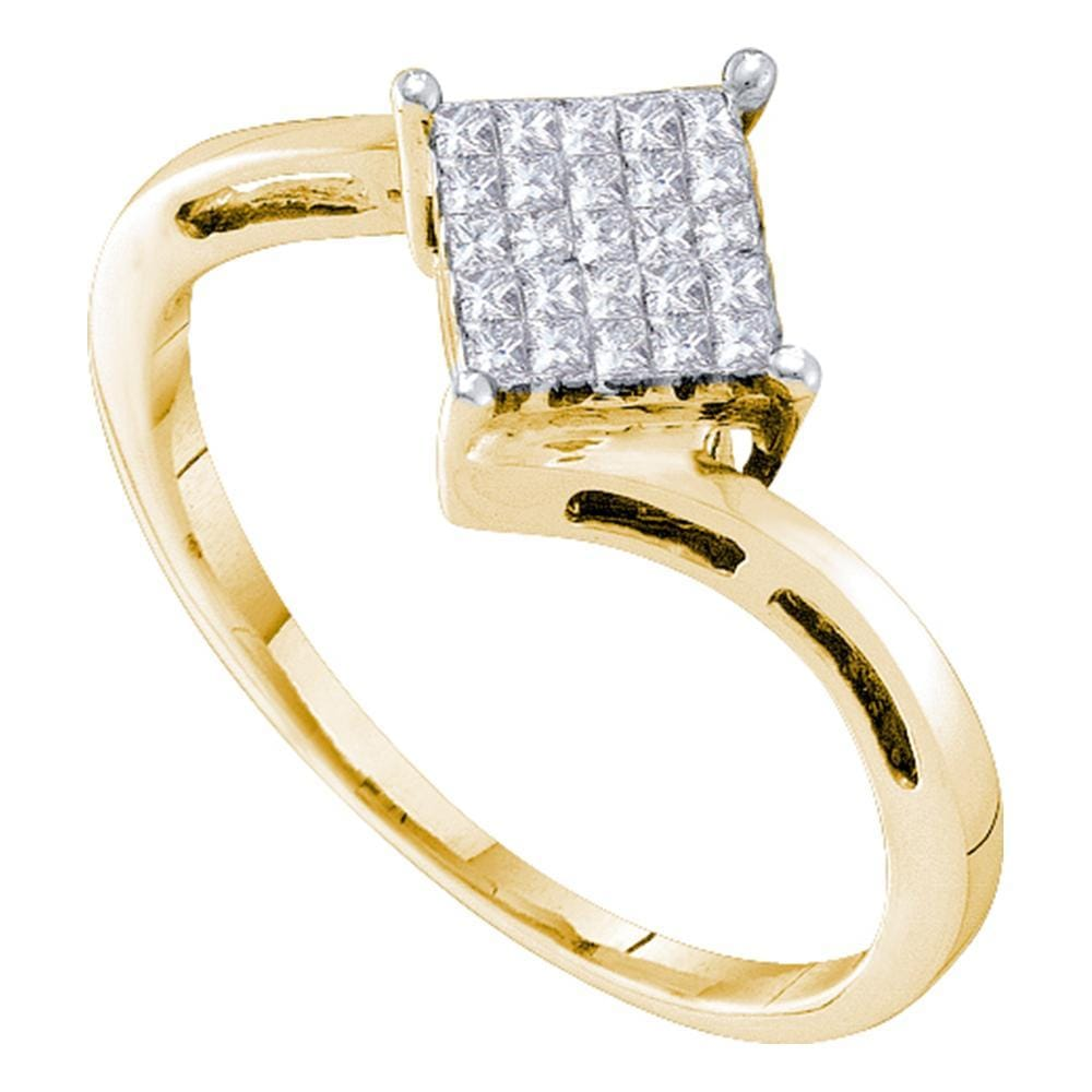 14kt Yellow Gold Womens Princess Diamond Diagonal Square Cluster Ring 1/4 Cttw